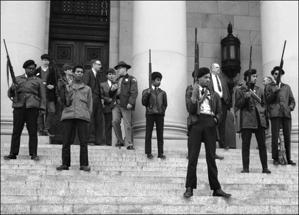 The Black Panther Party on the steps of the California legislature