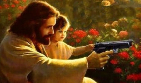 jesus, child, and glock