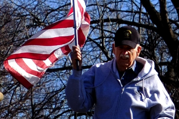 old guy with flag
