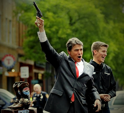 Gov. Rick Perry of Texas and his demon-free Republican finger