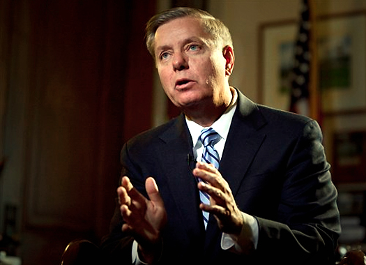 Senator Lindsey Graham crushing an imaginary zombie's skull