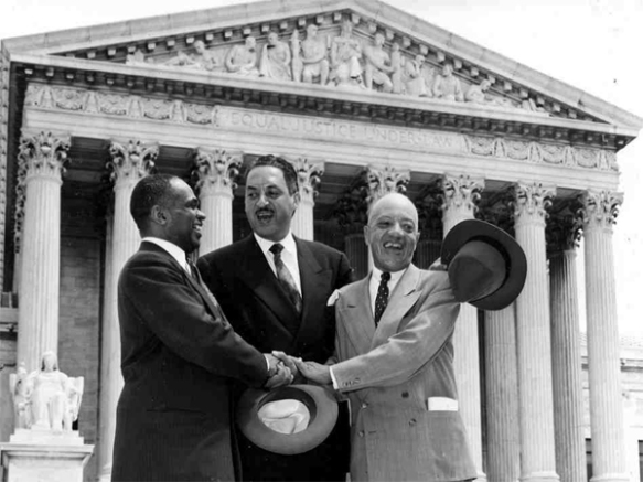 Young Thurgood Marshall on the steps of the U.S. Supreme Court
