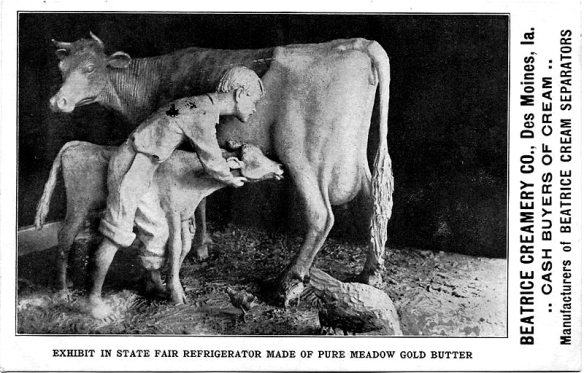 1911 Postcard of the original Butter Cow sculpture