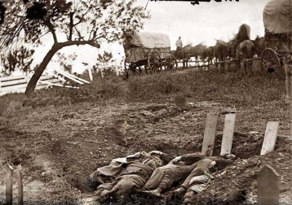 Confederate dead in shallow graves at Gettysburg
