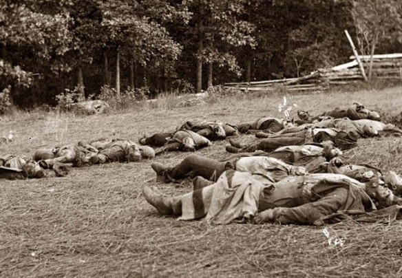 Confederate dead laid out for burial at Gettysburg