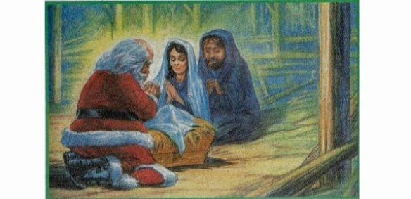 In which Jolly Old Saint Nick doffs his cap and wishes Mary and Joseph a Merry Christmas