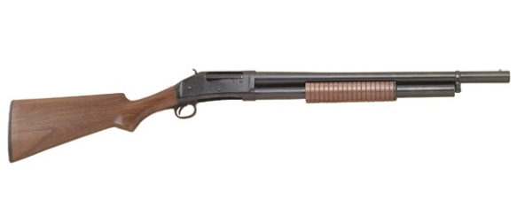 Pump action shotgun; brand doesn't matter -- they all do the same thing