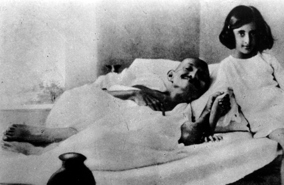 Gandhi during one of his hunger strikes