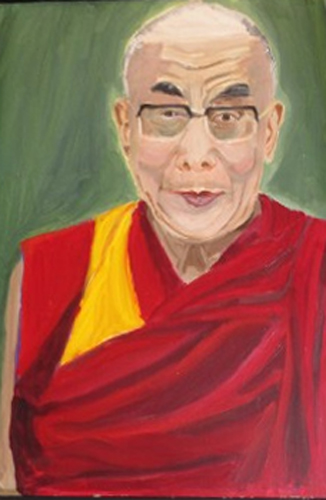 Bush portrait of Russian leader Vladimir Putin. No, wait...that's the Dalai Lama.