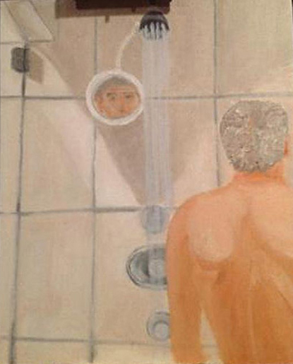 Bush portrait of Putin in the shower. No, wait...that's Bush his ownself.