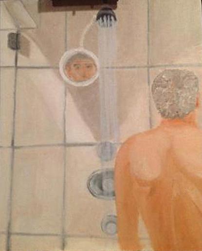 Bush portrait of Putin in the shower. No, wait...that's Bush his ownself.