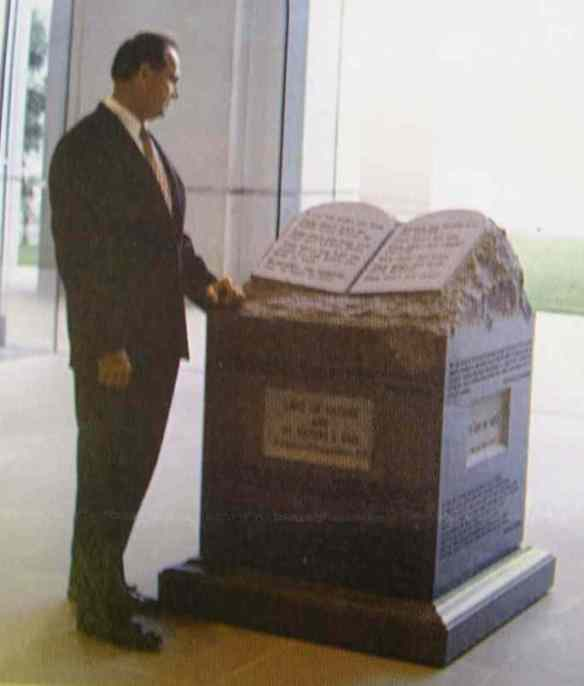 Jusge Roy Moore with two-and-a-half tons of Commandments