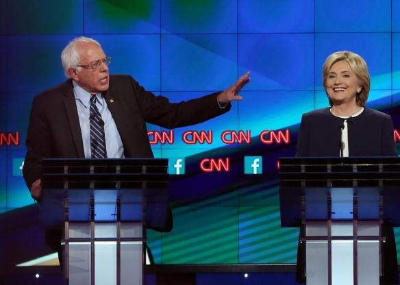bernie and hillary at debate