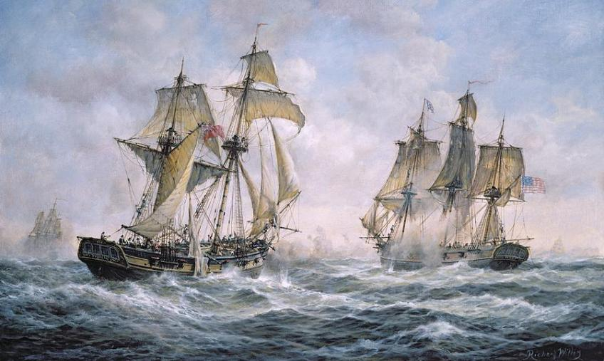 Not actually a French ship attacking a US merchant, but c'mon -- it's pirate stuff.